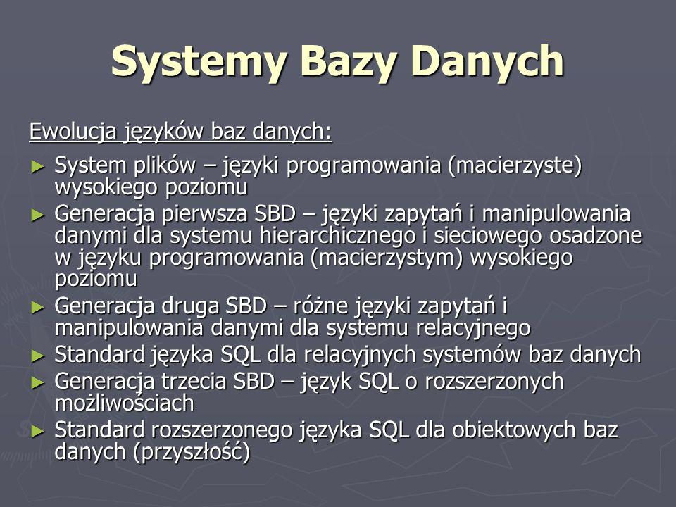 Systemy Bazy Danych Ewolucja języków baz danych: