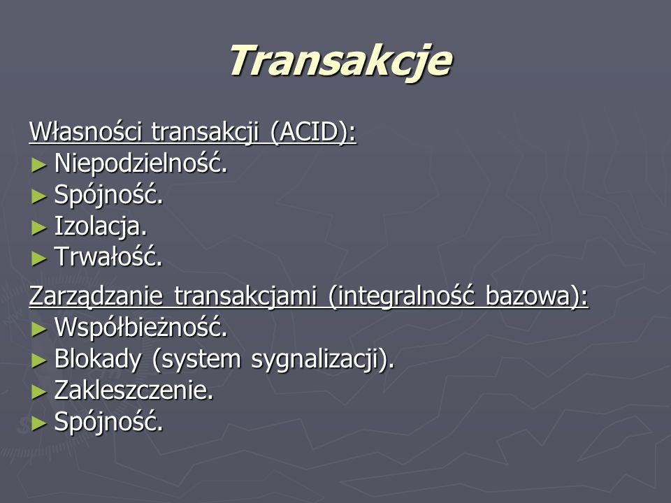 Transakcje Własności transakcji (ACID): Niepodzielność. Spójność.