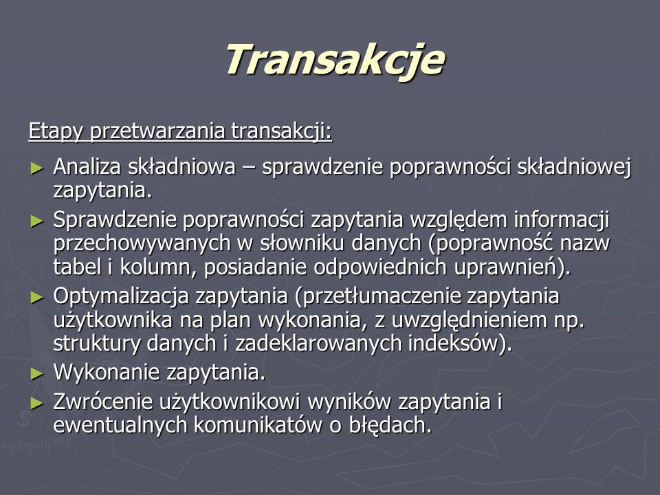 Transakcje Etapy przetwarzania transakcji: