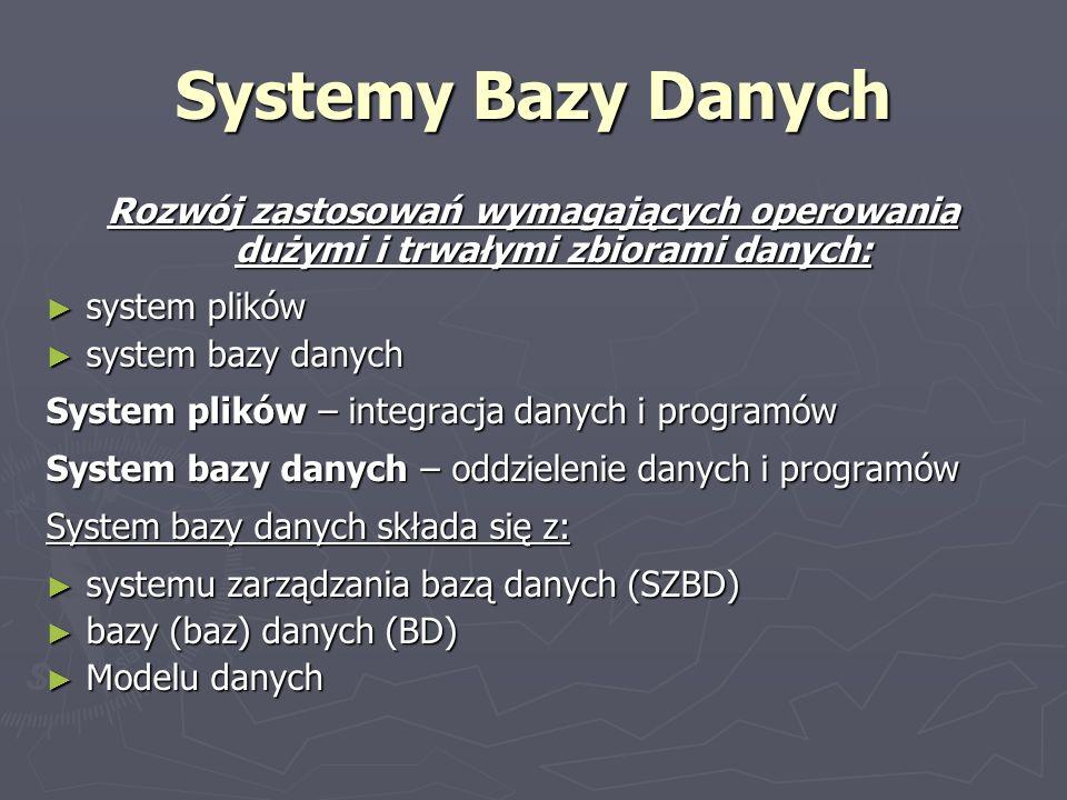 Systemy Bazy Danych Rozwój zastosowań wymagających operowania dużymi i trwałymi zbiorami danych: system plików.