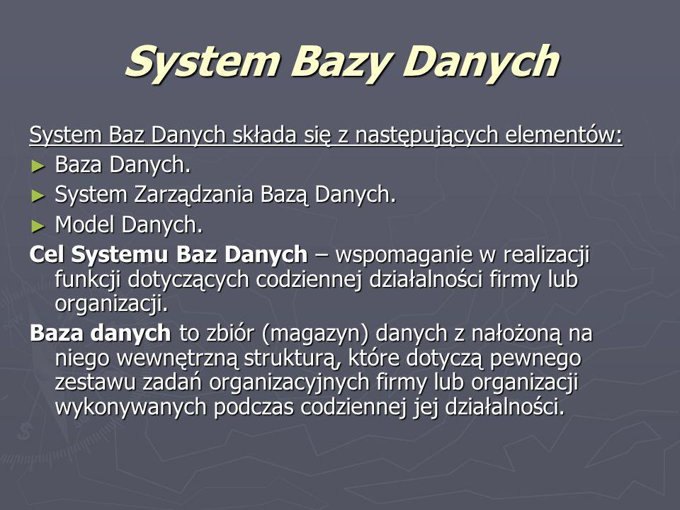 System Bazy Danych System Baz Danych składa się z następujących elementów: Baza Danych. System Zarządzania Bazą Danych.