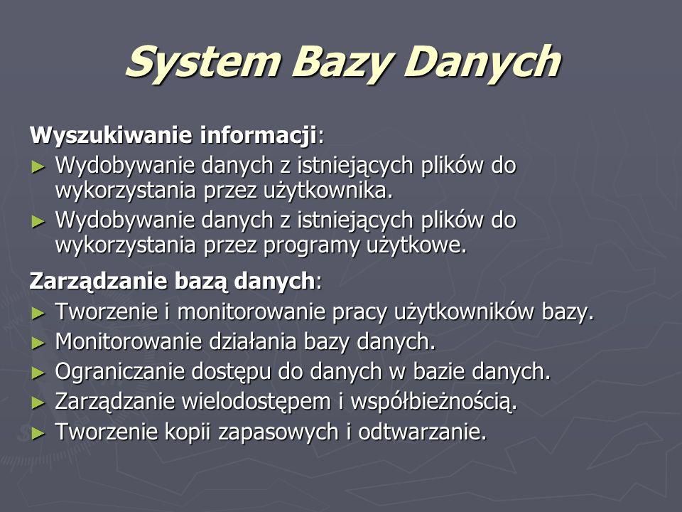System Bazy Danych Wyszukiwanie informacji: