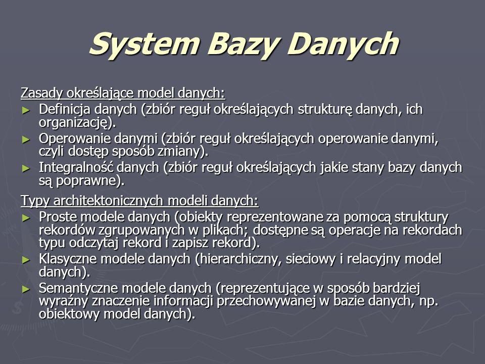 System Bazy Danych Zasady określające model danych: