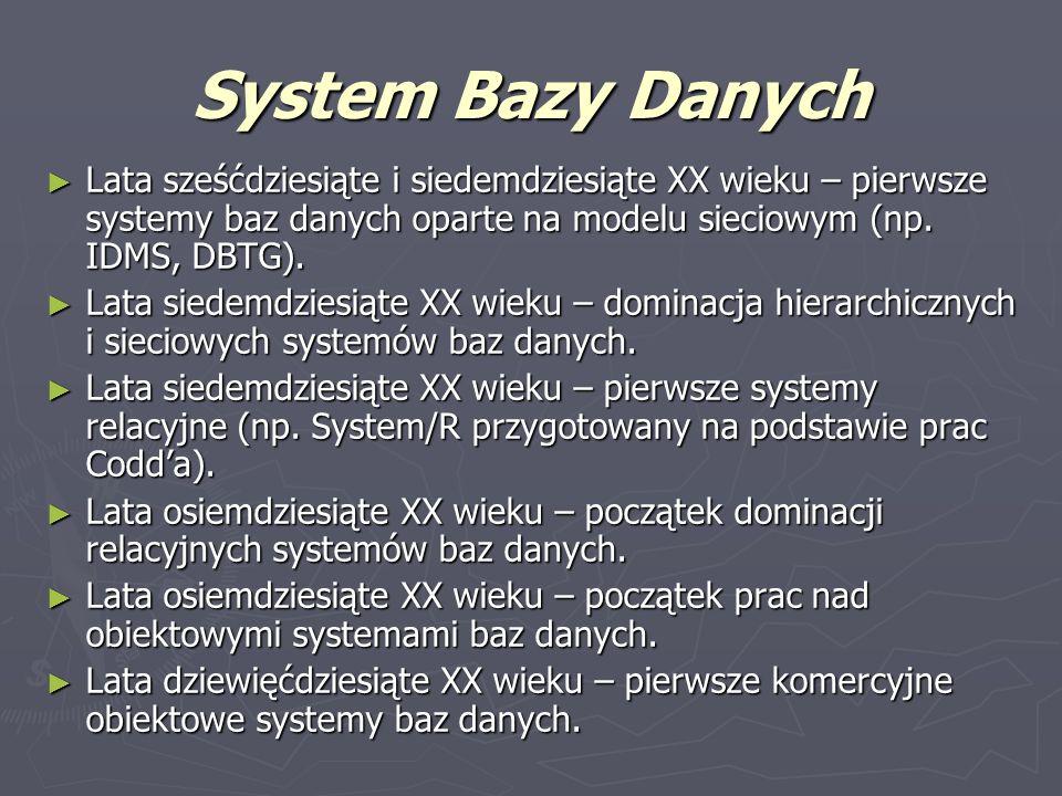 System Bazy DanychLata sześćdziesiąte i siedemdziesiąte XX wieku – pierwsze systemy baz danych oparte na modelu sieciowym (np. IDMS, DBTG).