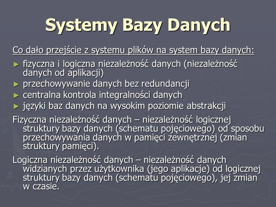 Systemy Bazy Danych Co dało przejście z systemu plików na system bazy danych: