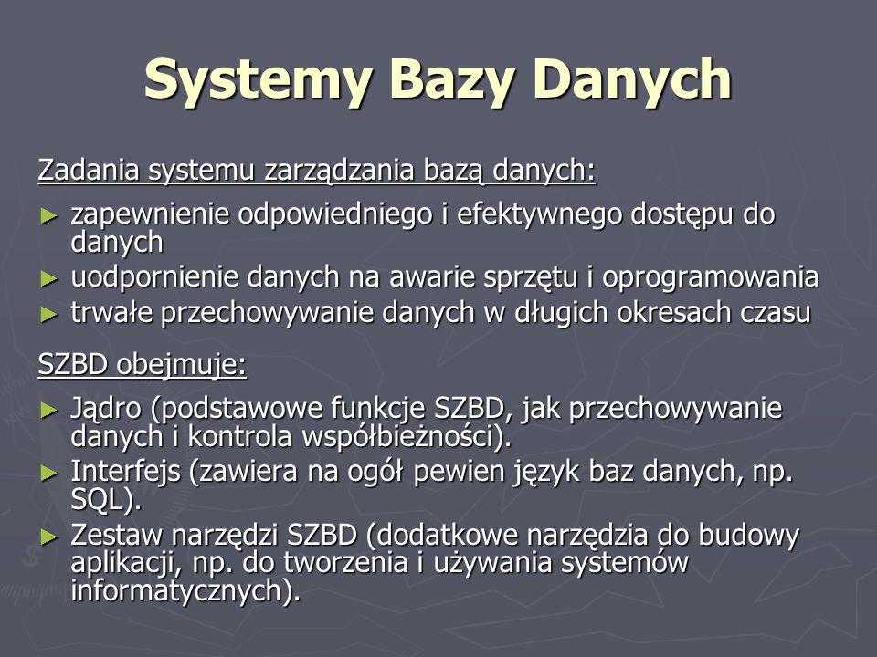 Systemy Bazy Danych Zadania systemu zarządzania bazą danych: