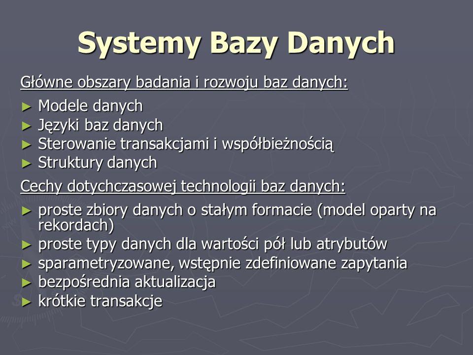 Systemy Bazy Danych Główne obszary badania i rozwoju baz danych: