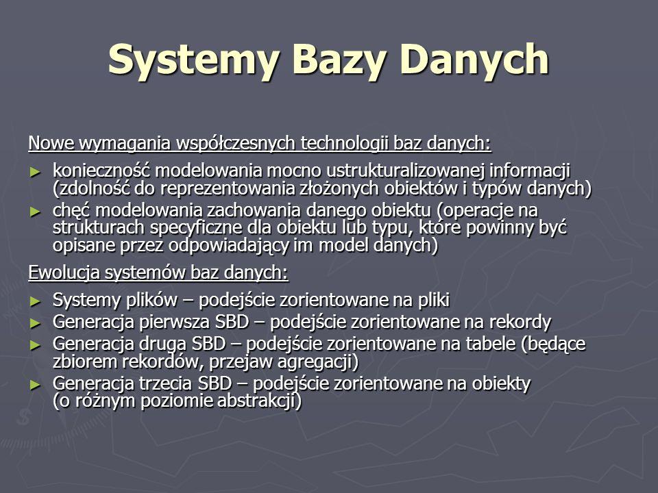 Systemy Bazy Danych Nowe wymagania współczesnych technologii baz danych: