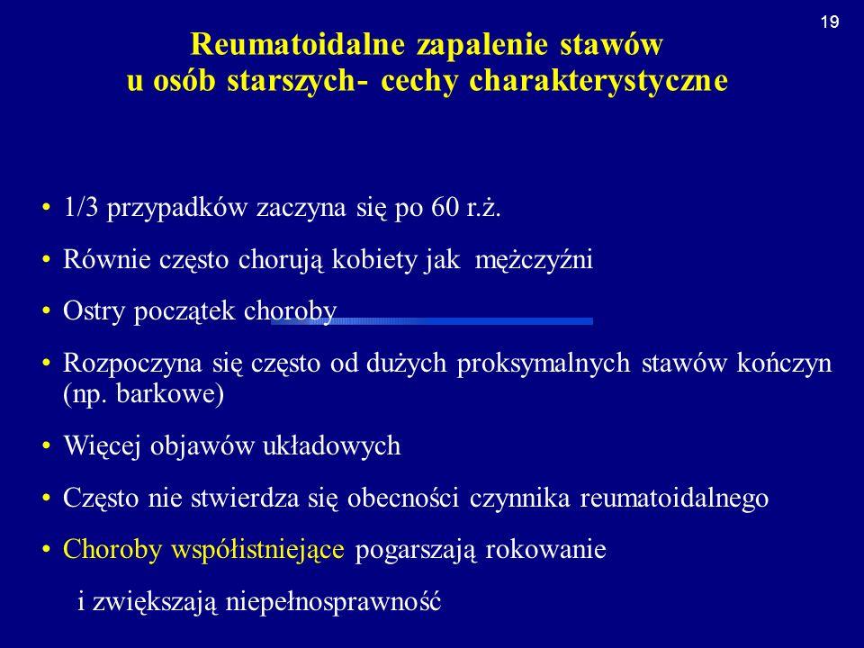 Reumatoidalne zapalenie stawów u osób starszych- cechy charakterystyczne