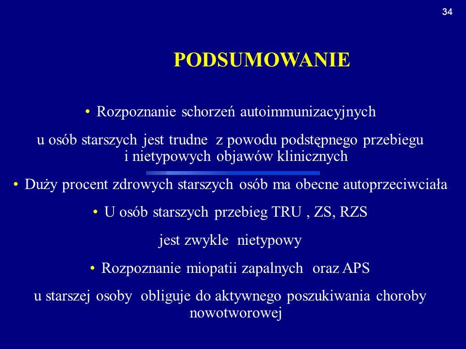 PODSUMOWANIE Rozpoznanie schorzeń autoimmunizacyjnych