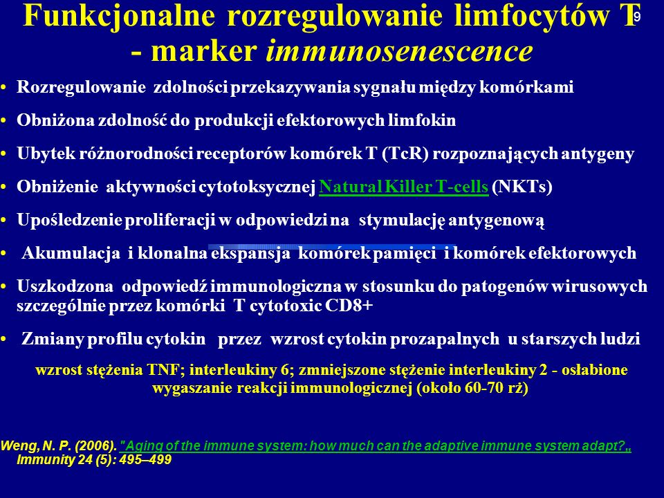 Funkcjonalne rozregulowanie limfocytów T - marker immunosenescence