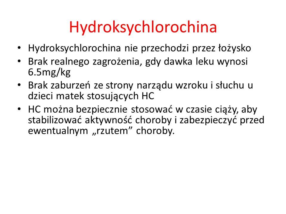 Hydroksychlorochina Hydroksychlorochina nie przechodzi przez łożysko