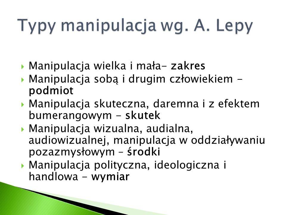 Typy manipulacja wg. A. Lepy