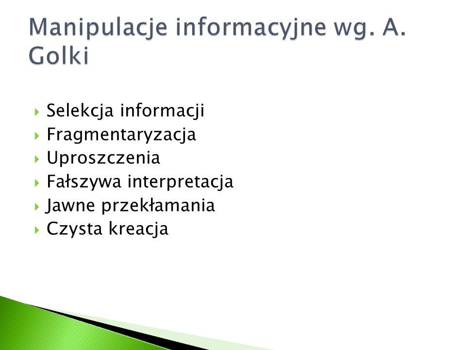 Manipulacje informacyjne wg. A. Golki