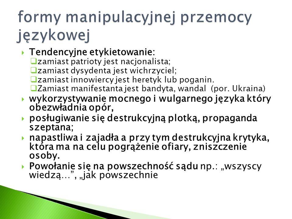 formy manipulacyjnej przemocy językowej