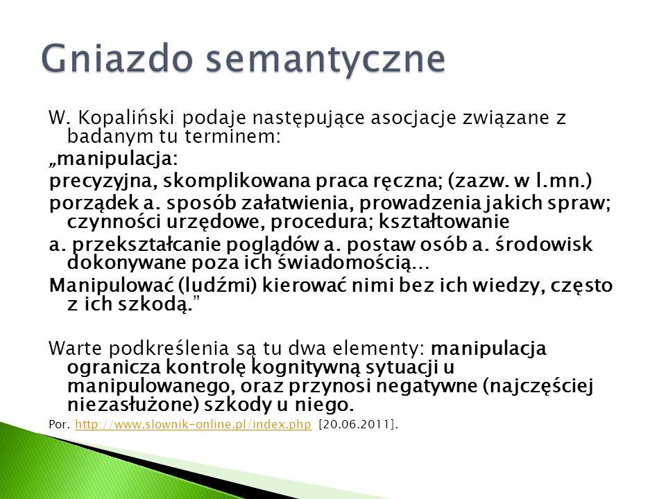 """Gniazdo semantyczne W. Kopaliński podaje następujące asocjacje związane z badanym tu terminem: """"manipulacja:"""