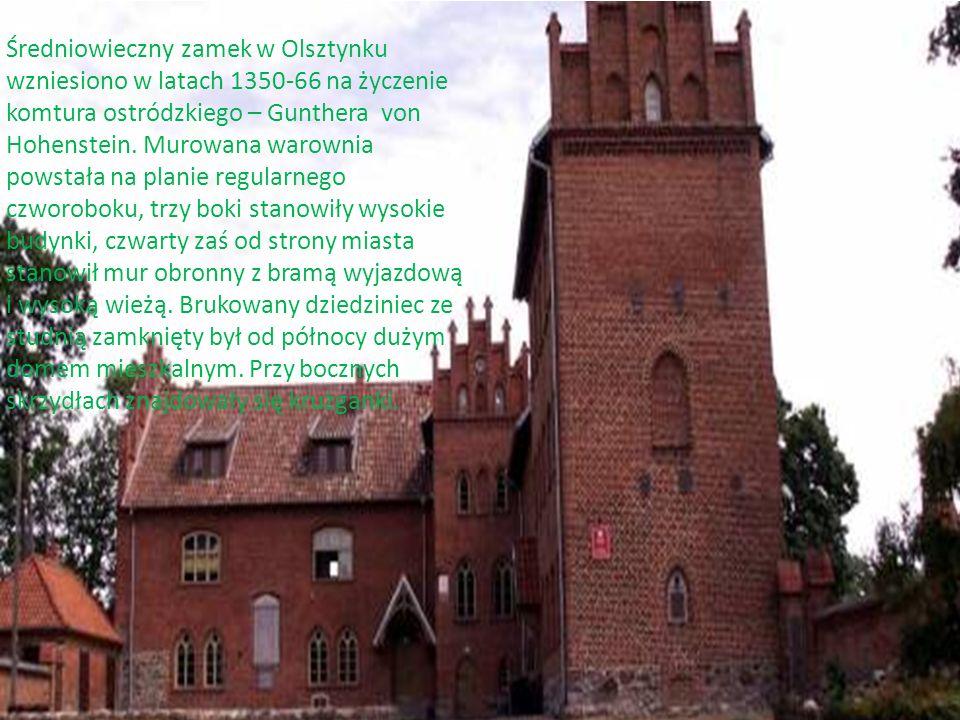 Średniowieczny zamek w Olsztynku wzniesiono w latach 1350-66 na życzenie komtura ostródzkiego – Gunthera von Hohenstein. Murowana warownia powstała na planie regularnego czworoboku, trzy boki stanowiły wysokie budynki, czwarty zaś od strony miasta stanowił mur obronny z bramą wyjazdową i wysoką wieżą. Brukowany dziedziniec ze studnią zamknięty był od północy dużym domem mieszkalnym. Przy bocznych skrzydłach znajdowały się krużganki.