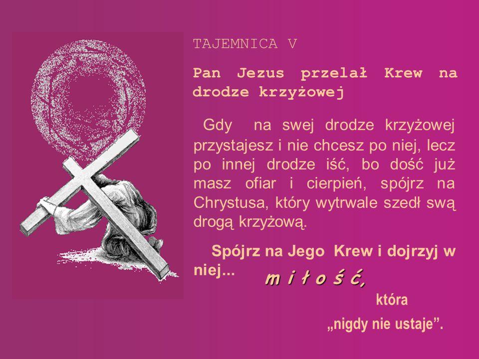 m i ł o ś ć, TAJEMNICA V Pan Jezus przelał Krew na drodze krzyżowej