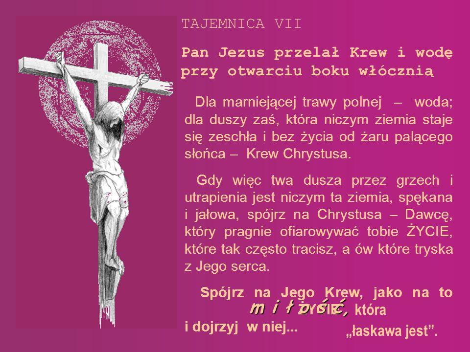 TAJEMNICA VII Pan Jezus przelał Krew i wodę przy otwarciu boku włócznią.