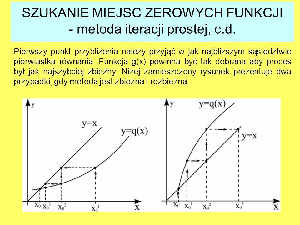 SZUKANIE MIEJSC ZEROWYCH FUNKCJI - metoda iteracji prostej, c.d.