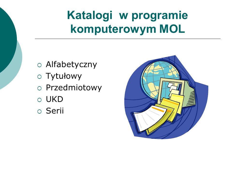 Katalogi w programie komputerowym MOL