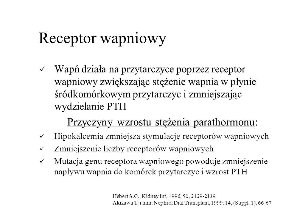 Receptor wapniowy Przyczyny wzrostu stężenia parathormonu: