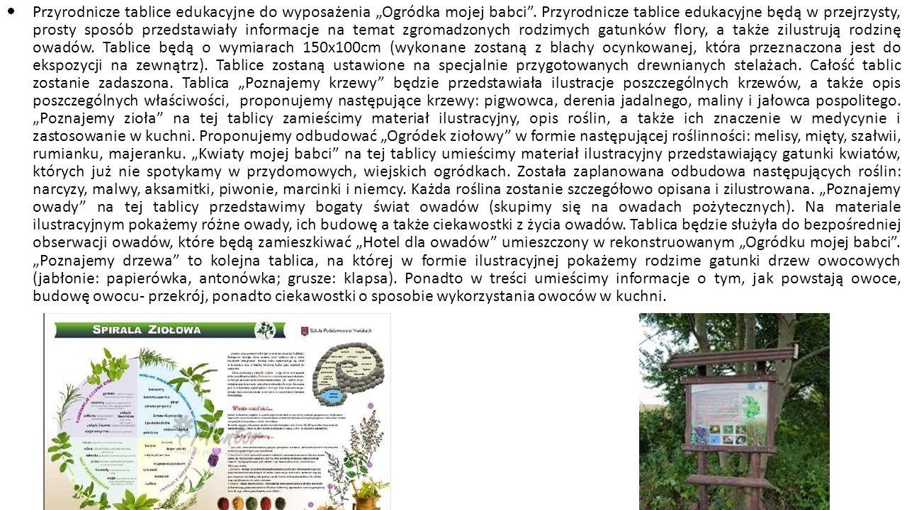 """Przyrodnicze tablice edukacyjne do wyposażenia """"Ogródka mojej babci"""
