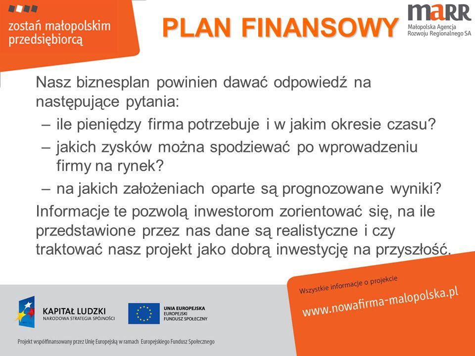 PLAN FINANSOWY Nasz biznesplan powinien dawać odpowiedź na następujące pytania: ile pieniędzy firma potrzebuje i w jakim okresie czasu
