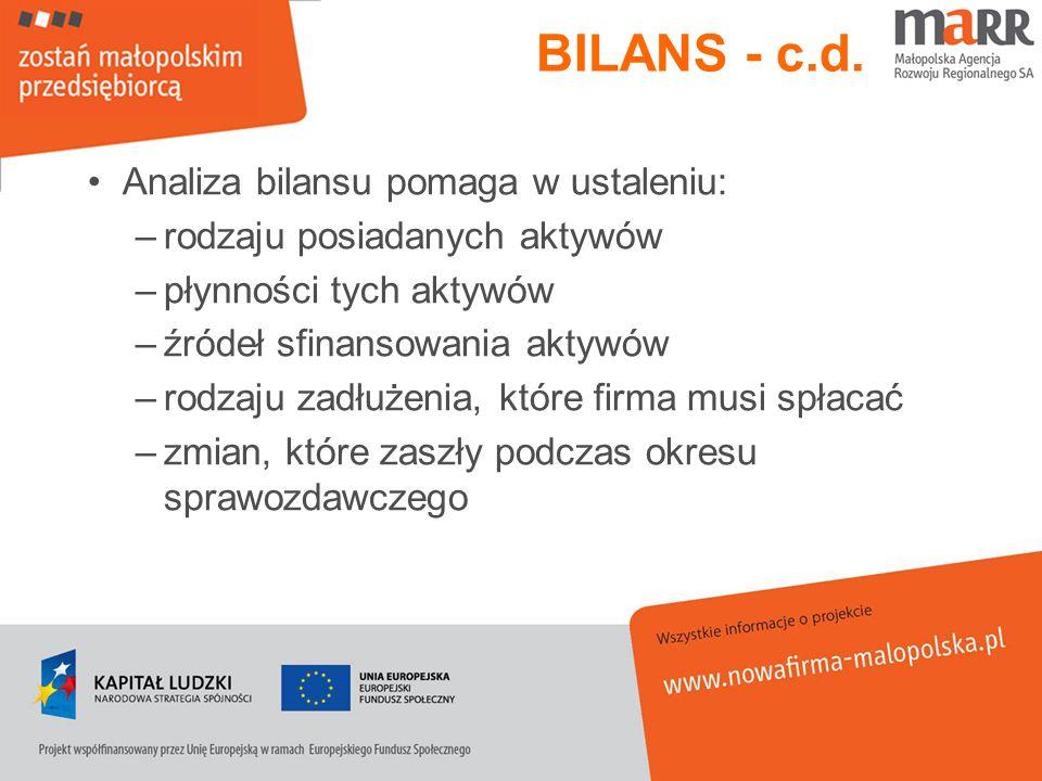 BILANS - c.d. Analiza bilansu pomaga w ustaleniu: