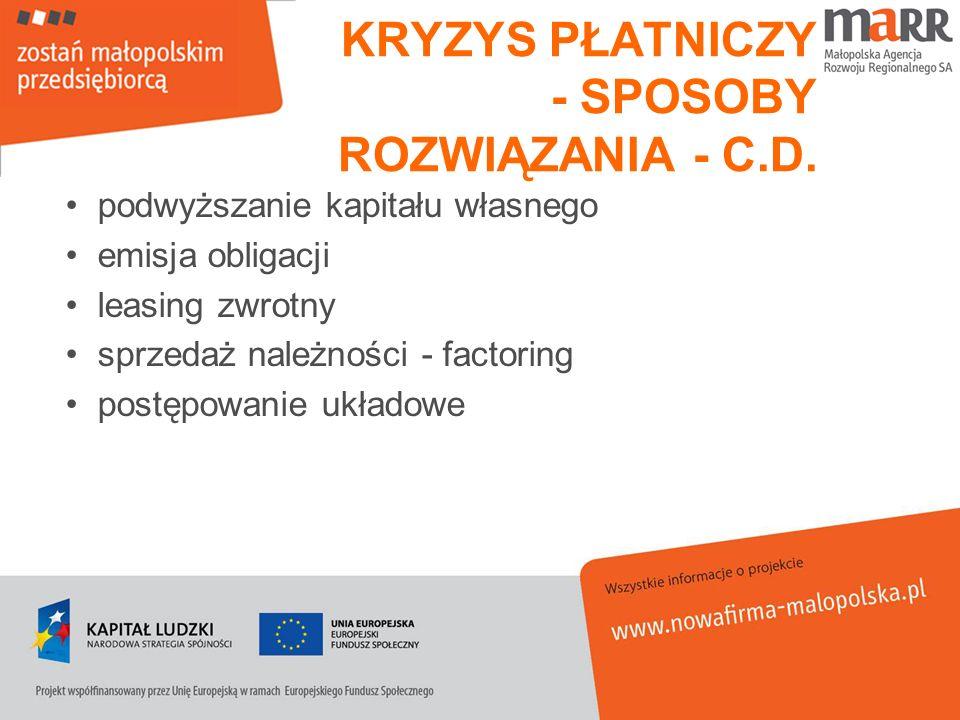 KRYZYS PŁATNICZY - SPOSOBY ROZWIĄZANIA - C.D.