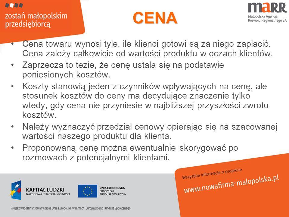 CENA Cena towaru wynosi tyle, ile klienci gotowi są za niego zapłacić. Cena zależy całkowicie od wartości produktu w oczach klientów.