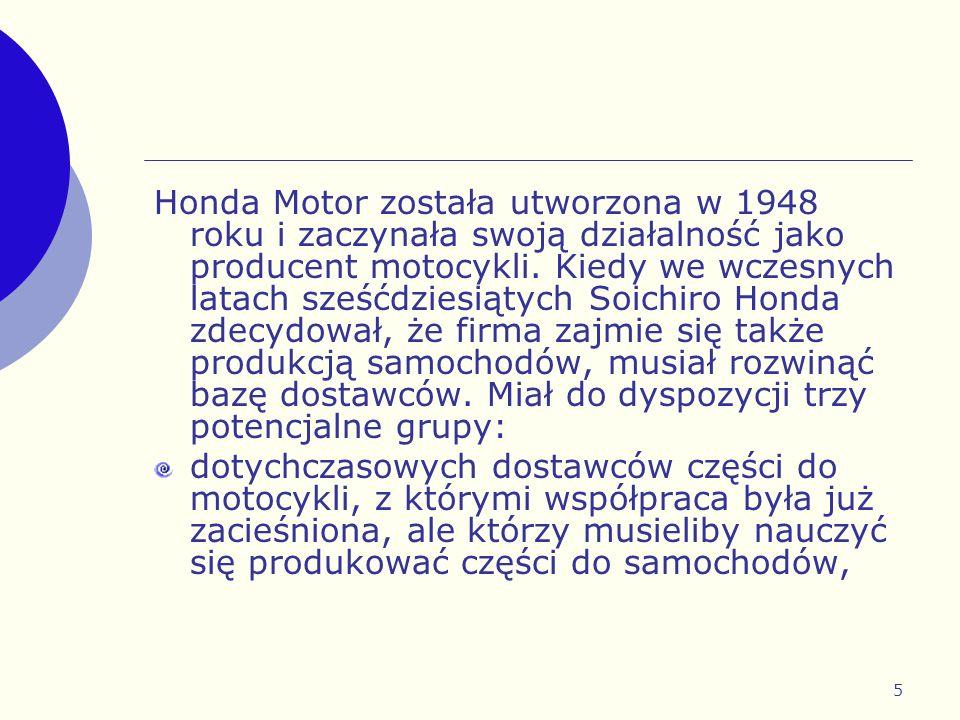 Honda Motor została utworzona w 1948 roku i zaczynała swoją działalność jako producent motocykli. Kiedy we wczesnych latach sześćdziesiątych Soichiro Honda zdecydował, że firma zajmie się także produkcją samochodów, musiał rozwinąć bazę dostawców. Miał do dyspozycji trzy potencjalne grupy: