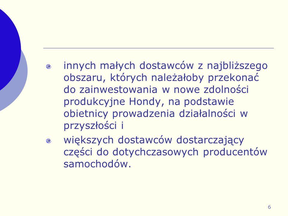 innych małych dostawców z najbliższego obszaru, których należałoby przekonać do zainwestowania w nowe zdolności produkcyjne Hondy, na podstawie obietnicy prowadzenia działalności w przyszłości i