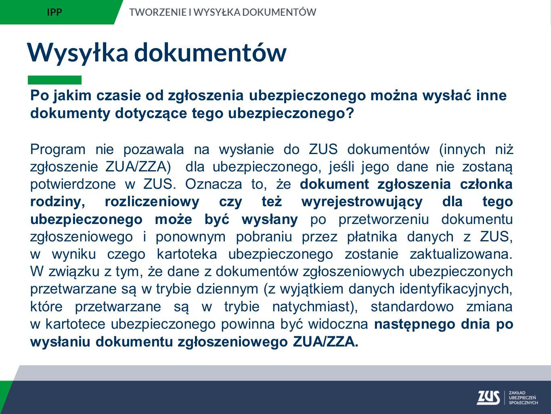 IPP TWORZENIE I WYSYŁKA DOKUMENTÓW. Wysyłka dokumentów.