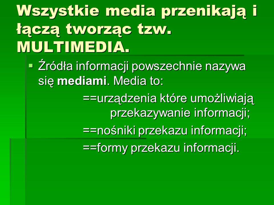 Wszystkie media przenikają i łączą tworząc tzw. MULTIMEDIA.