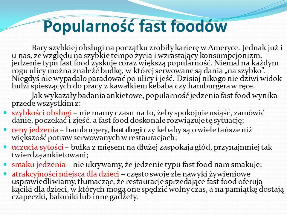Popularność fast foodów