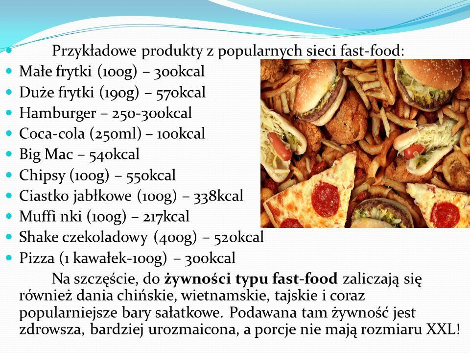 Przykładowe produkty z popularnych sieci fast-food: