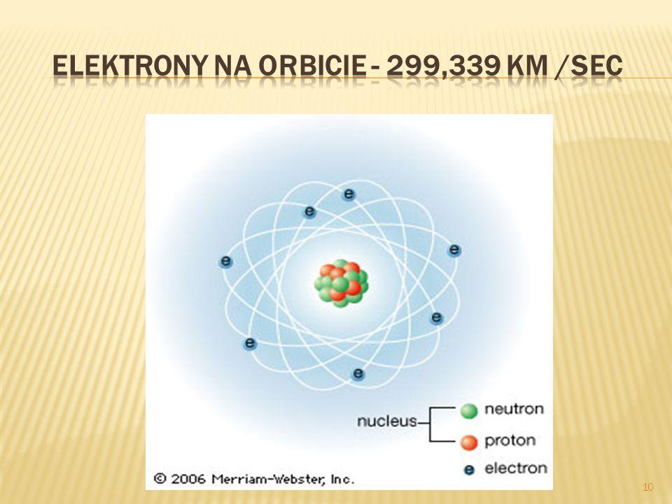 Elektrony na orbicie - 299,339 km /sec