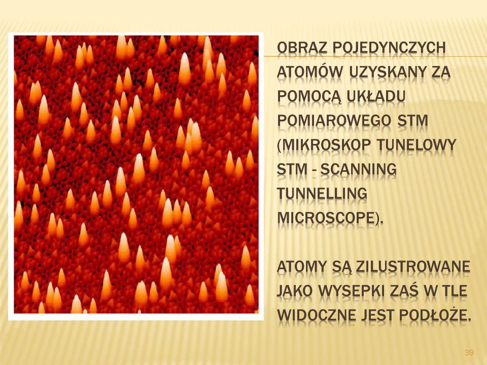 Obraz pojedynczych atomów uzyskany za pomocą układu pomiarowego STM (mikroskop tunelowy STM - scanning tunnelling microscope).