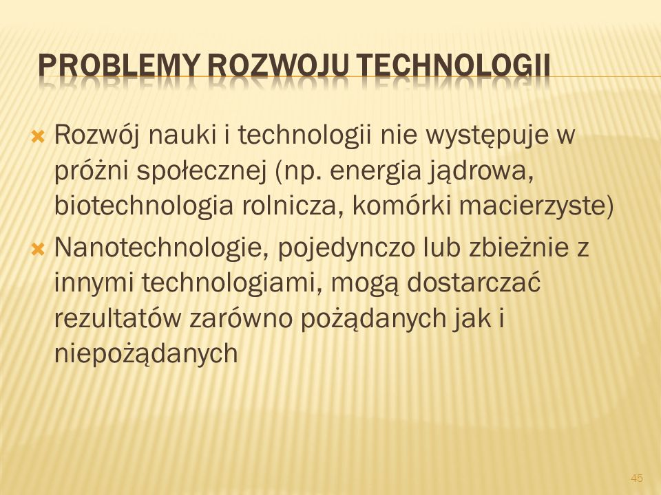 Problemy rozwoju technologii