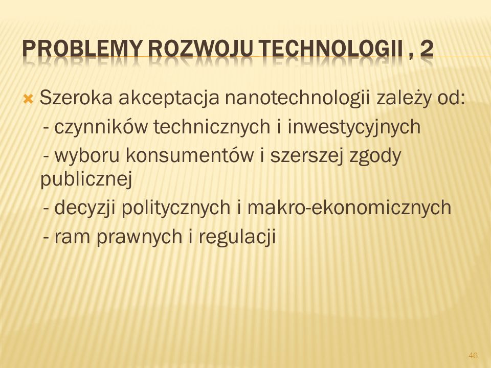 Problemy rozwoju technologii , 2