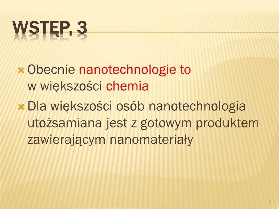 Wstęp, 3 Obecnie nanotechnologie to w większości chemia