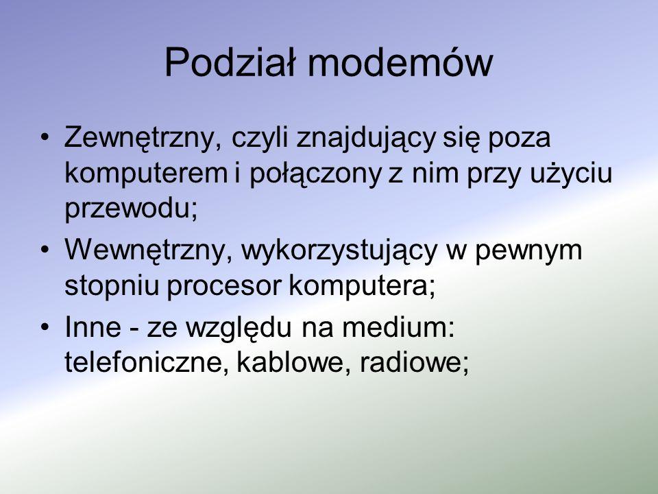 Podział modemów Zewnętrzny, czyli znajdujący się poza komputerem i połączony z nim przy użyciu przewodu;