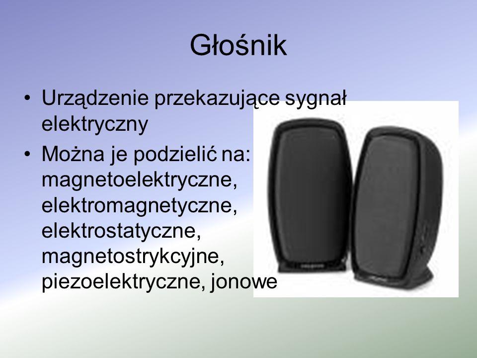 Głośnik Urządzenie przekazujące sygnał elektryczny