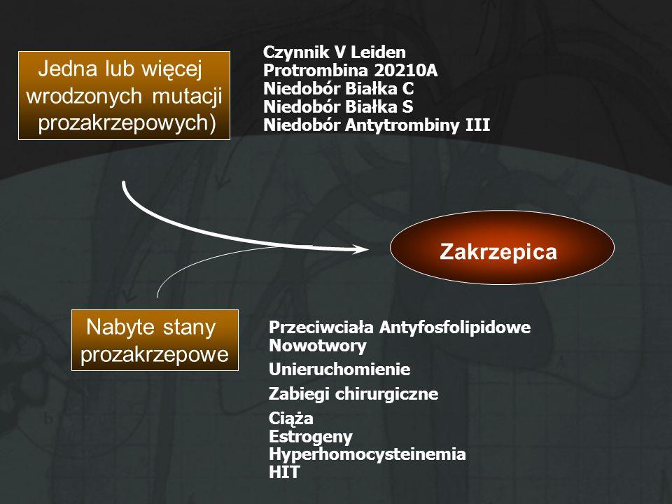 Jedna lub więcej wrodzonych mutacji prozakrzepowych) Zakrzepica