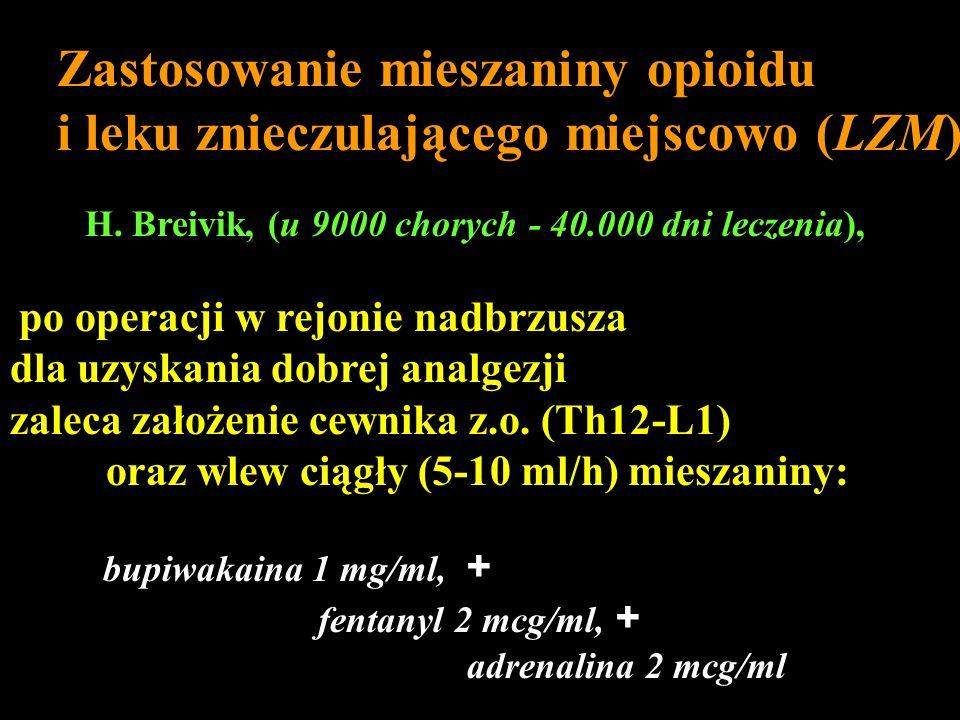 Zastosowanie mieszaniny opioidu i leku znieczulającego miejscowo (LZM)