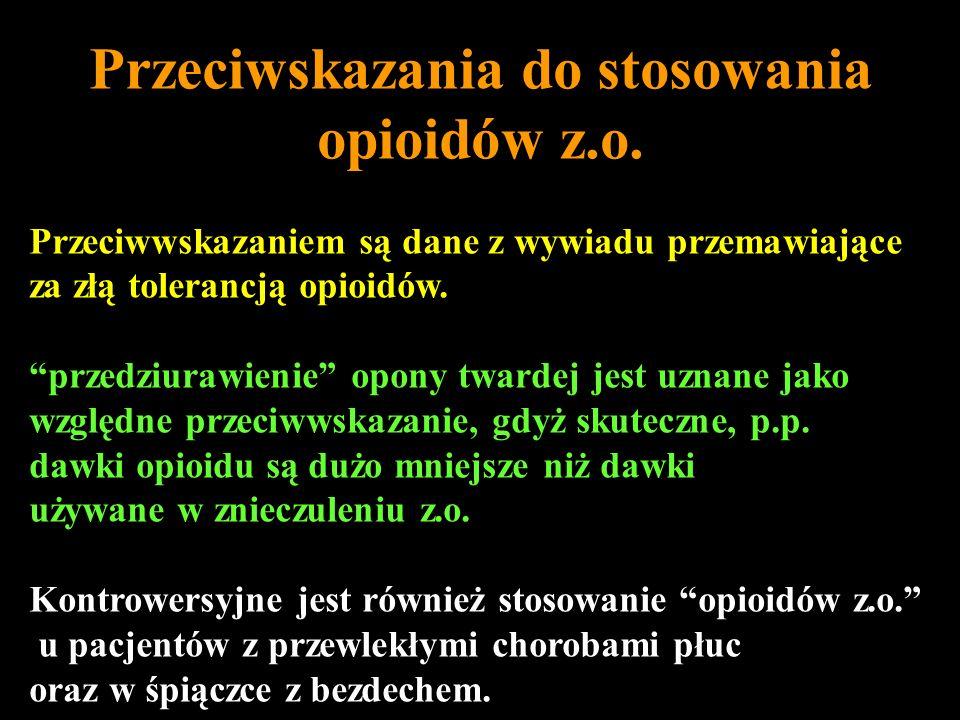 Przeciwskazania do stosowania opioidów z.o.