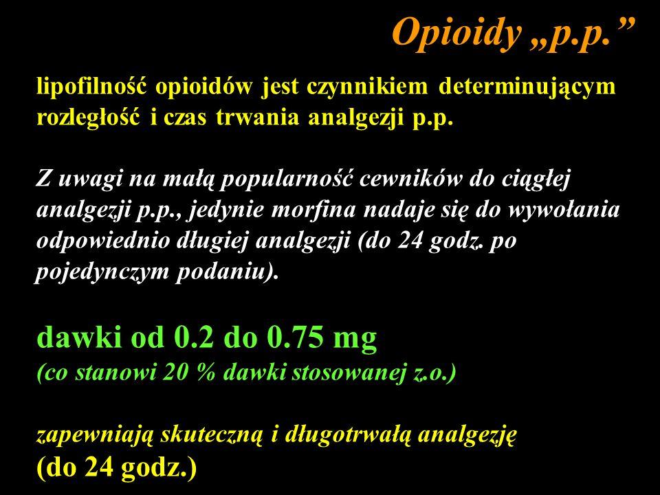 """Opioidy """"p.p. dawki od 0.2 do 0.75 mg (do 24 godz.)"""