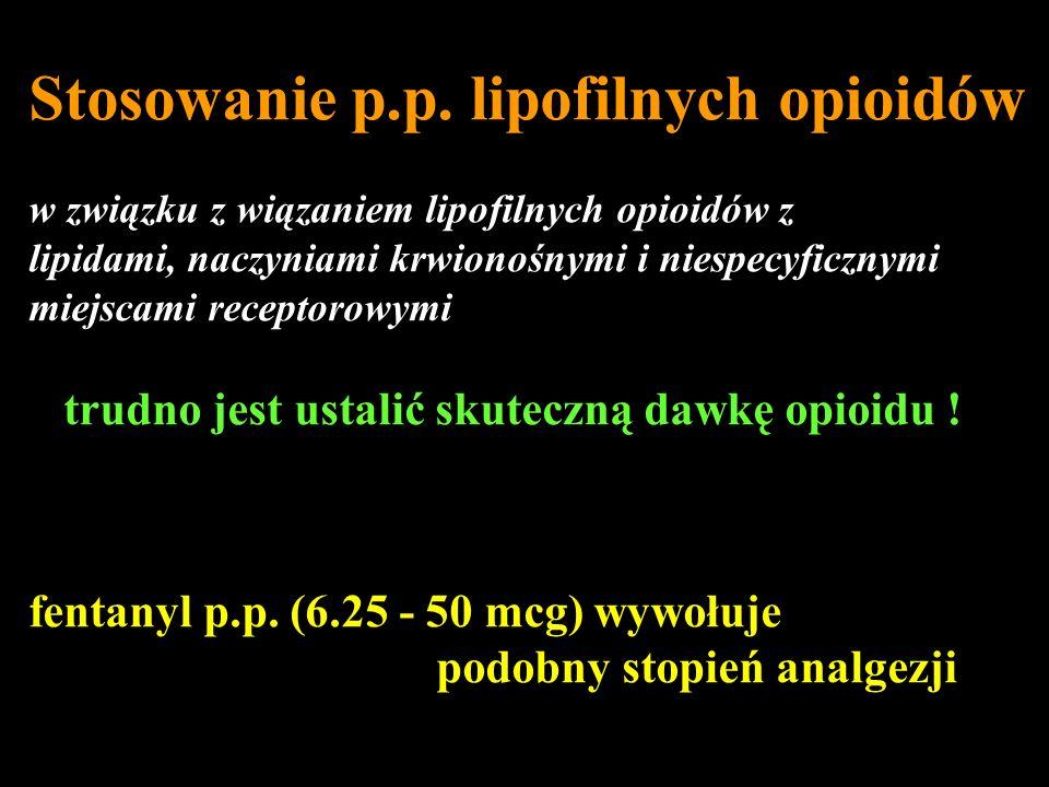 Stosowanie p.p. lipofilnych opioidów