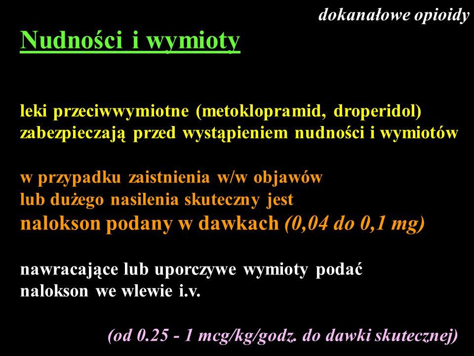 Nudności i wymioty nalokson podany w dawkach (0,04 do 0,1 mg)